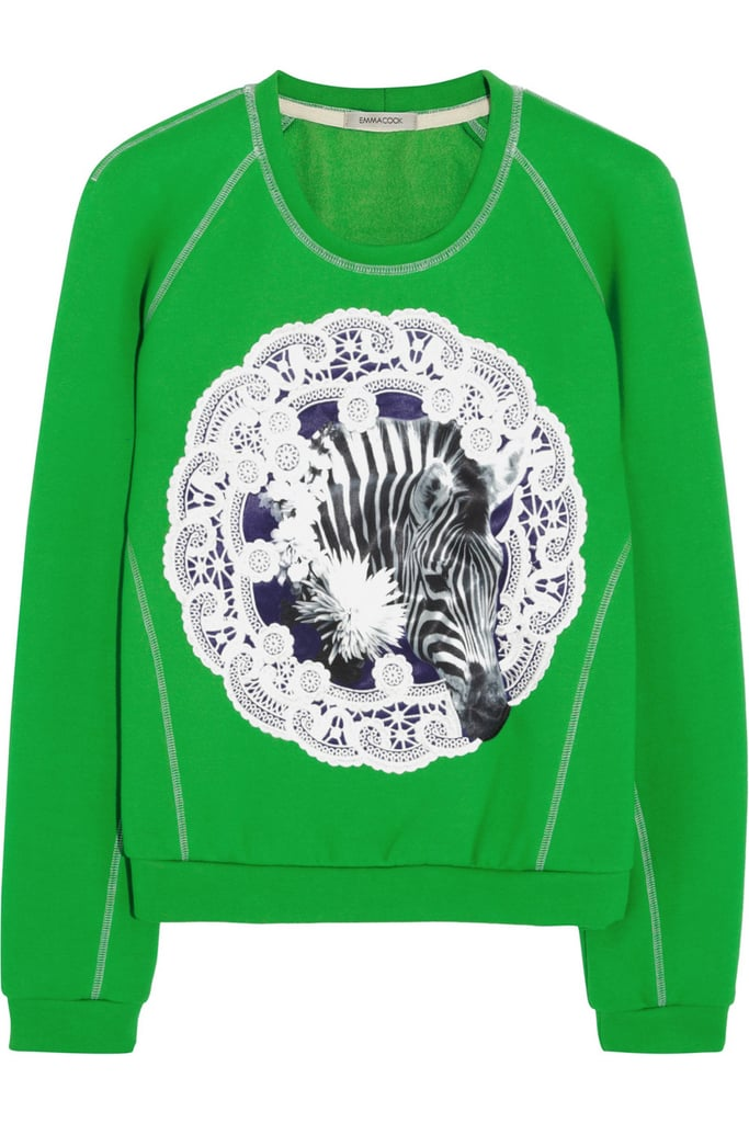 My weekday style tends to hit a slump this time of year. How could Emma Cook's bright sweatshirt ($385) not up the ante? There's lace, people! — Randy Miller, associate editor