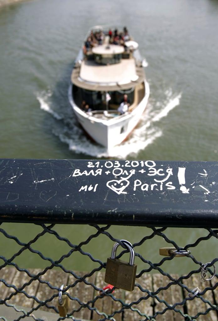 Love locks were attached to a bridge in Paris.