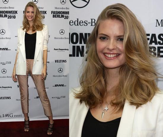 Model Julia Stegner Attends Berlin Fashion Week in Ivory Blazer, Cropped Pants, and Stella McCartney Mesh Shoes