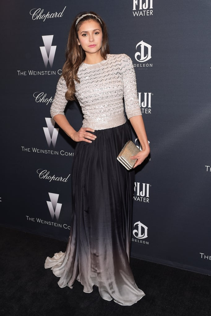 A free spirit by nature, it doesn't surprise us that Nina went with a flowy Jenny Packham maxi skirt for the Weinstein Company's Academy Awards 2015 nominees dinner.