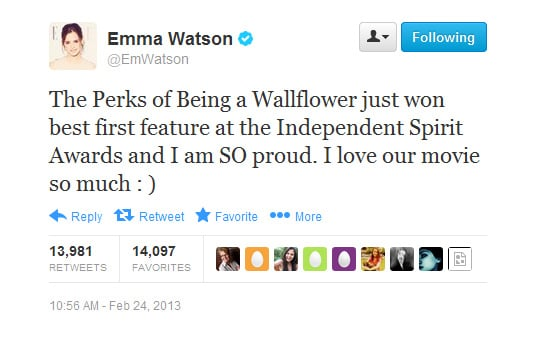 Emma feels and spreads the love for her film.