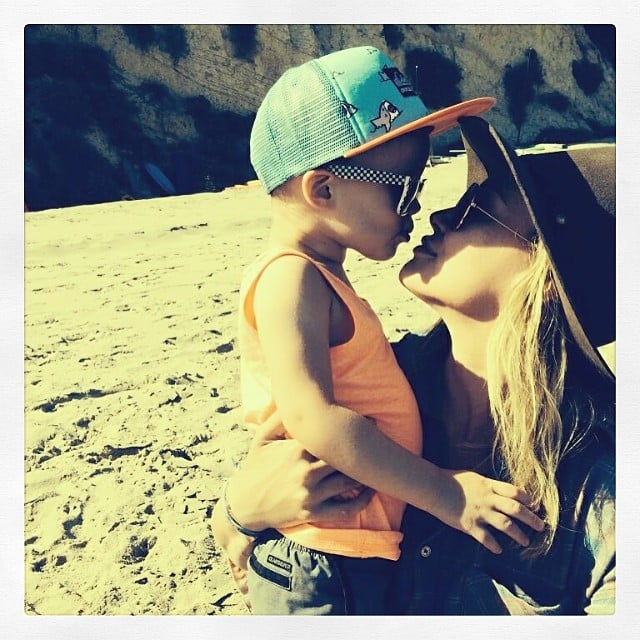 Hilary Duff received a sweet beach-side smooch from Luca on Mother's Day. Source: Instagram user hilaryduff