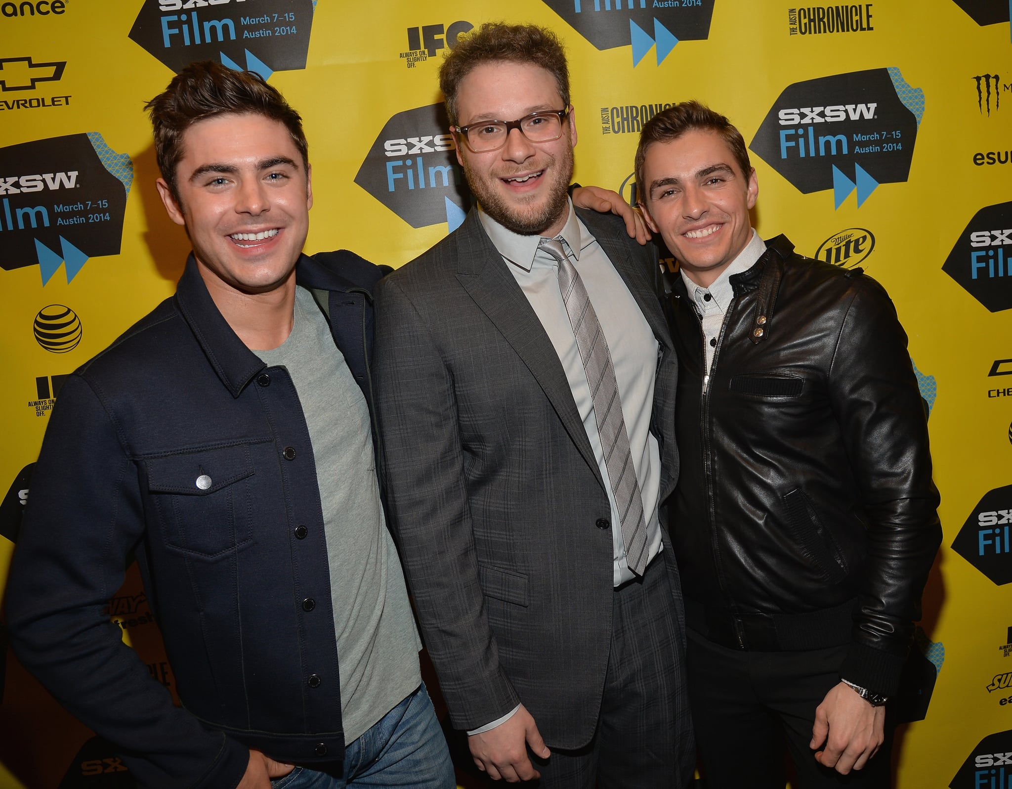 Zac Efron, Seth Rogen, and Dave Franco were all smiles on Saturday.