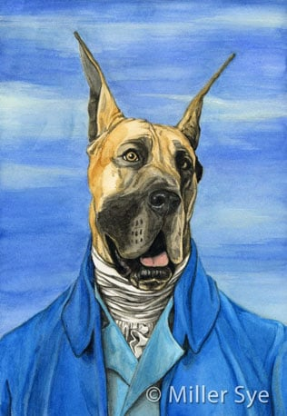 These watercolor paintings of pets are all modeled after famous historical paintings and people. Love this Great Dane Houdon ($17) —so regal!