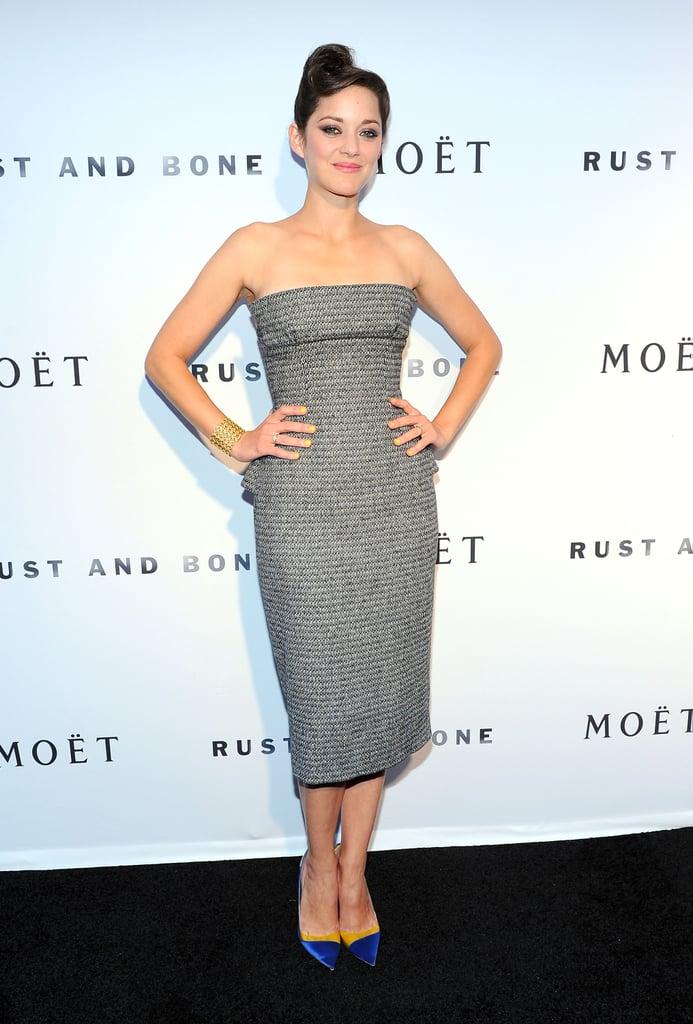 Marion Cotillard in Gray Dior Haute Couture Dress