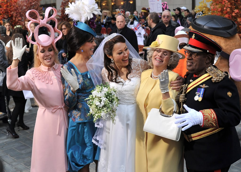 Kathy Lee Gifford as Princess Eugenie, Hoda Kotb as Princess Eugenie, Ann Curry as Kate Middleton, Meredith Viera as Queen Elizabeth, and Al Roker as Prince Harry.