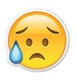 """Interpretation: """"I'm so sad."""" Name + meaning: Disappointed but Relieved Face. This Emoji has sweat dripping from its brow, presumably due to a stressful situation. Not to be confused with the Crying Face Emoji, which has a tear on the cheek, instead of a bead of sweat.  Also known as: Eyebrow sweat emoji"""