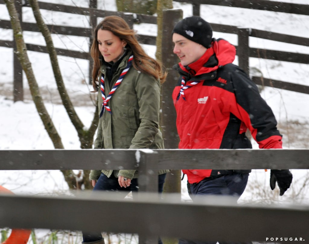 Kate Middleton walked through the snow.