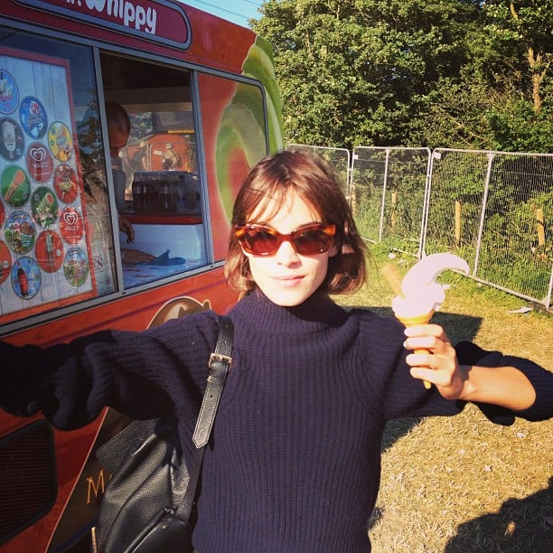 Alexa Chung stayed chic in a turtleneck and tortoiseshell shades while enjoying an ice cream cone at Glastonbury. Source: Instagram user chungalexa