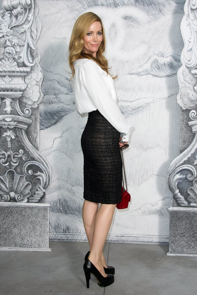 Leslie Mann kept it classic in a white blouse and a black pencil skirt.