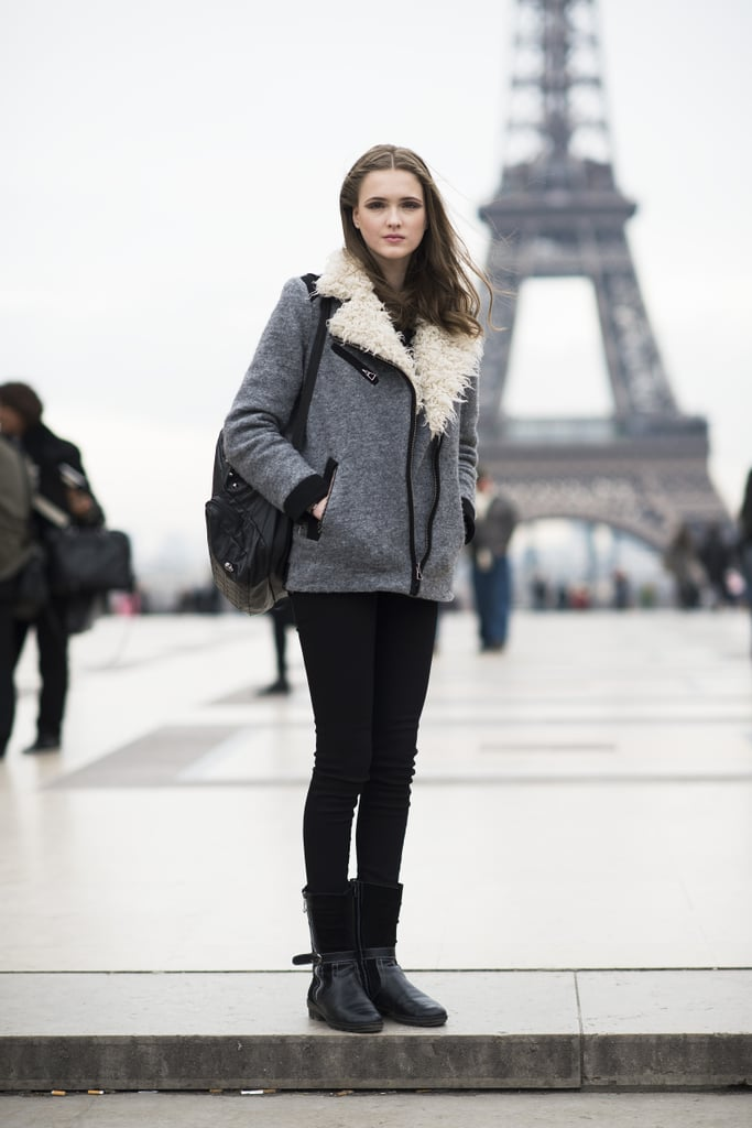 The model-off-duty vibe perfected with the moto jacket and black skinny jeans. Source: Le 21ème   Adam Katz Sinding