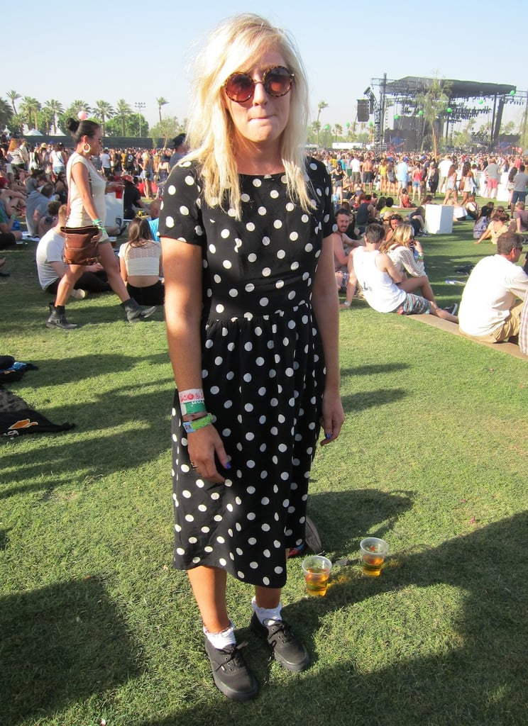 This music lover paired her cute polka dots with lace socks for a '90s moment. Source: Chi Diem Chau