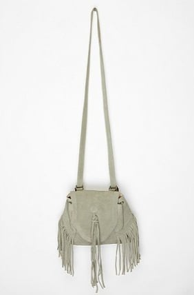 We would wear this fringed creation crossbody style for maximum hands-free action.  Ecote Suede Fringe Backpack ($59)