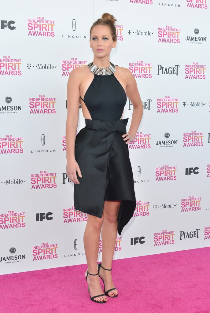 For the Independent Spirit Awards, Jennifer Lawrence wasn't afraid to increase the sex appeal by showing some skin in a black dress with a highly embellished collar.