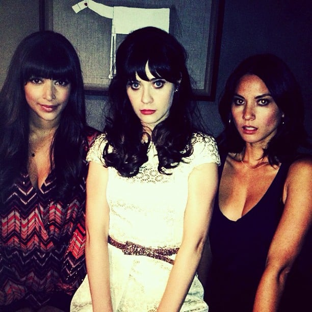 Zooey Deschanel posed with Olivia Munn and her New Girl costar Hannah Simone. Source: Twitter user ZooeyDeschanel
