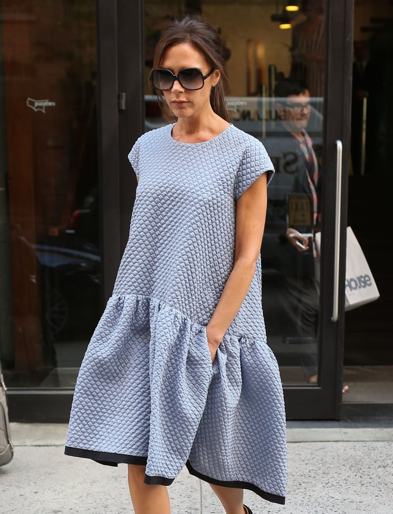 Victoria Beckham wore a dress from her lower-priced line, Victoria Victoria Beckham.