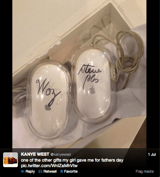 Rapper Kanye West, who proclaimed himself the next Steve Jobs, received two mice signed by Apple's founders as a father's day gift from Kim Kardashian.