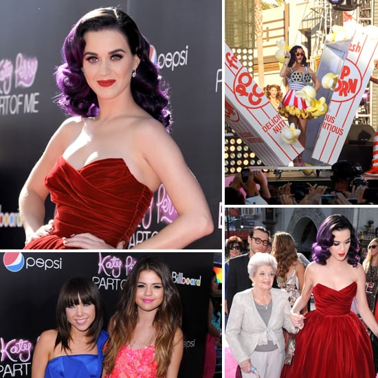 Katy Perry Switches From a Glam Gown to a Popcorn Dress at Her LA Premiere