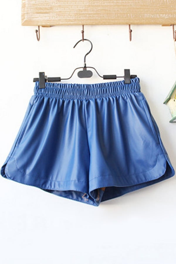 Searching for the perfect option to wear with chunky oversize sweaters early this Fall? Try a faux-leather pair of roomy shorts ($24) in a fresh blue color.
