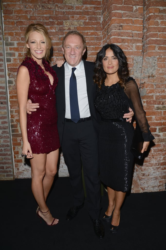 Blake Lively posed with Salma Hayek and Francois-Henri Pinault at the Gucci fragrance launch.