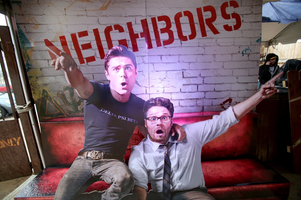 The Funny or Die Clubhouse and Facebook Pop-Up headquarters is decorated with a cardboard cutout of Zac Efron and Seth Rogen!