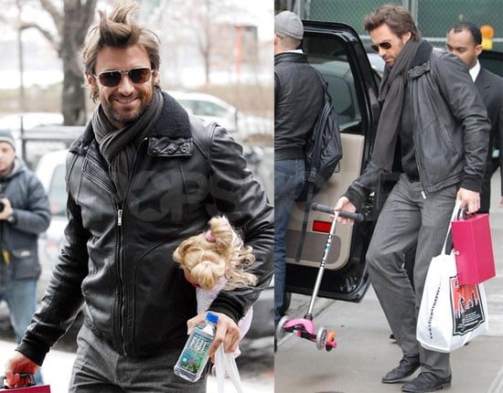 Photos of Hugh Jackman With His Children Holding Toys in NYC