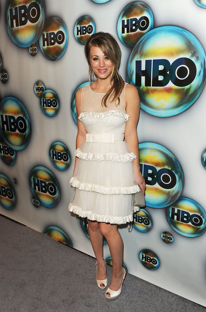Kaley Cuoco arrived at HBO's post-Golden Globes party.