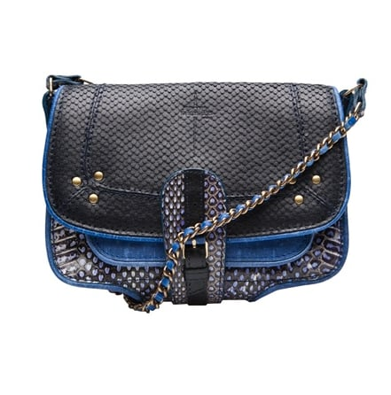 """""""About the chicest take on patchwork I've seen — the navy on cobalt color combo, the snakeskin detail against leather, speak to the downtown sophisticate, but it's done in an effortless 'throw-on-and-go' style that will work for everyday."""" — Noria Morales, style director Jérôme Dreyfuss Jojo Patchwork Bag ($730)"""