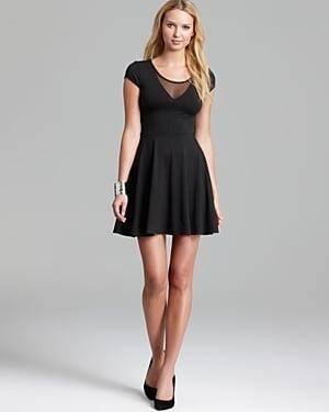 Aqua Jersey Dress  - Mesh Inset