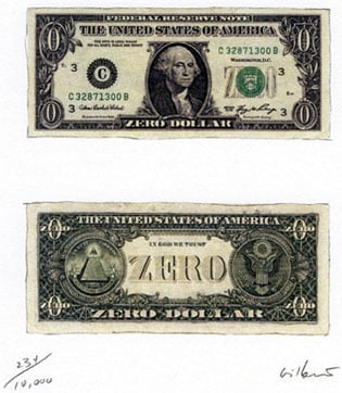 The Zero-Dollar Bill, in Limited Circulation