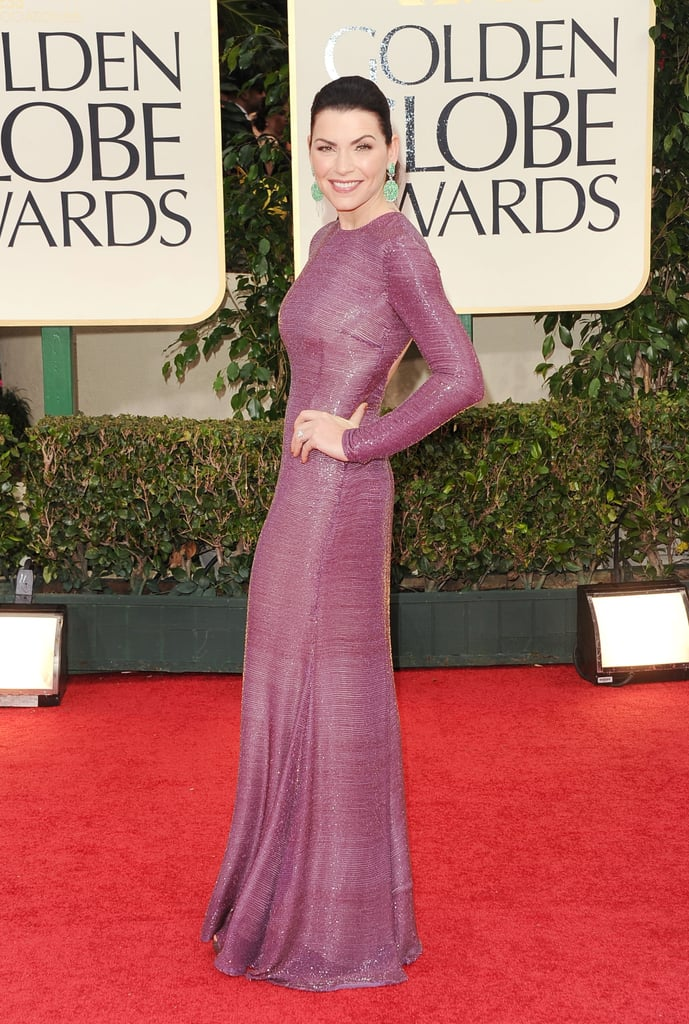 Julianna Margulies chose a shimmery form-fitting purple gown by Naeem Khan at the Golden Globes. While the dress may be more modest and chic, we love the inclusion of all-over sequins to give her look a bit of shine.