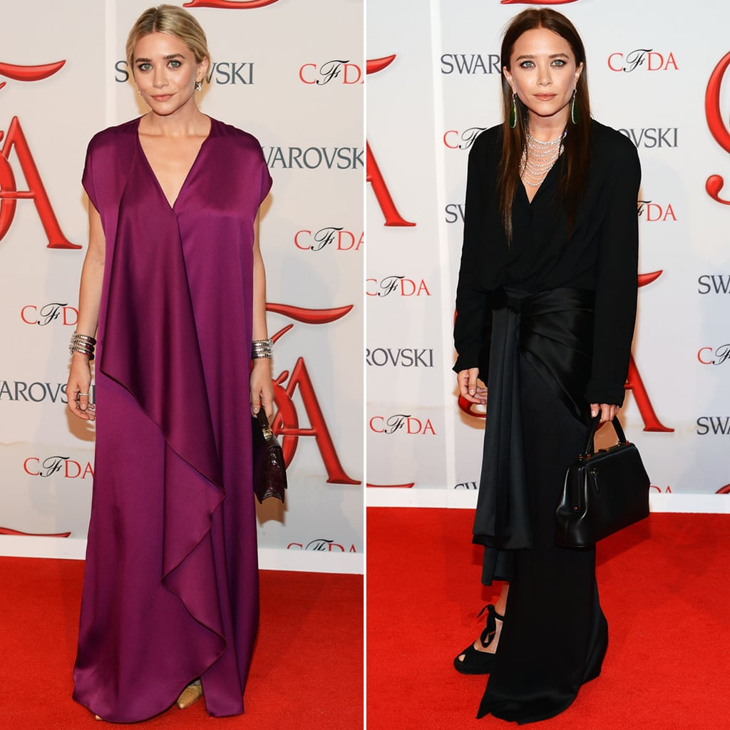 Twinning combo: The designing sisters celebrated their 2012 CFDA Womenswear Designer of the Year Award in rich hues and silky silhouettes, both by The Row.  Ashley pumped up the color in a deep fuchsia gown with cascading front-ruffle detail and a no-fuss updo. Mary-Kate went for a darker look, owning a black long-sleeved silk dress with a high-low hem, then slipping on dazzling diamond drop earrings for a pop of shine.