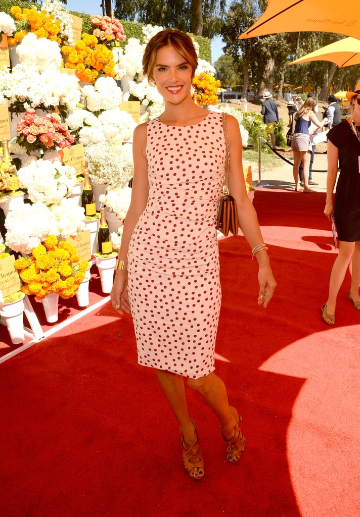 Alessandra Ambrosio was at her most ladylike in a ruched polka-dot design at the Veuve Clicquot Polo Classic in LA.