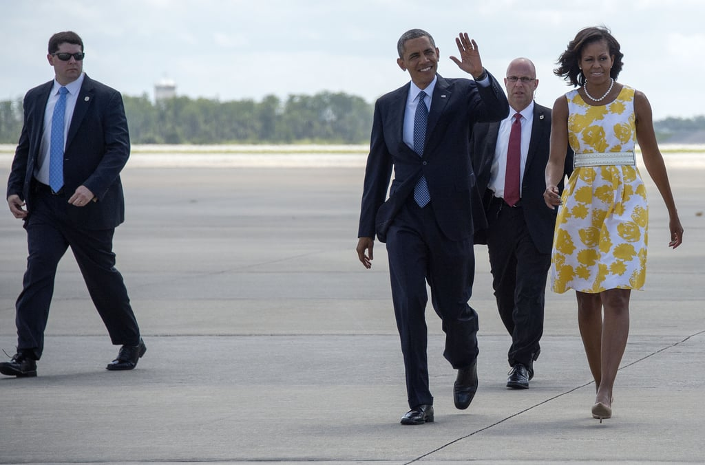 The Obamas stopped down in Orlando, FL, to speak at a veterans convention.