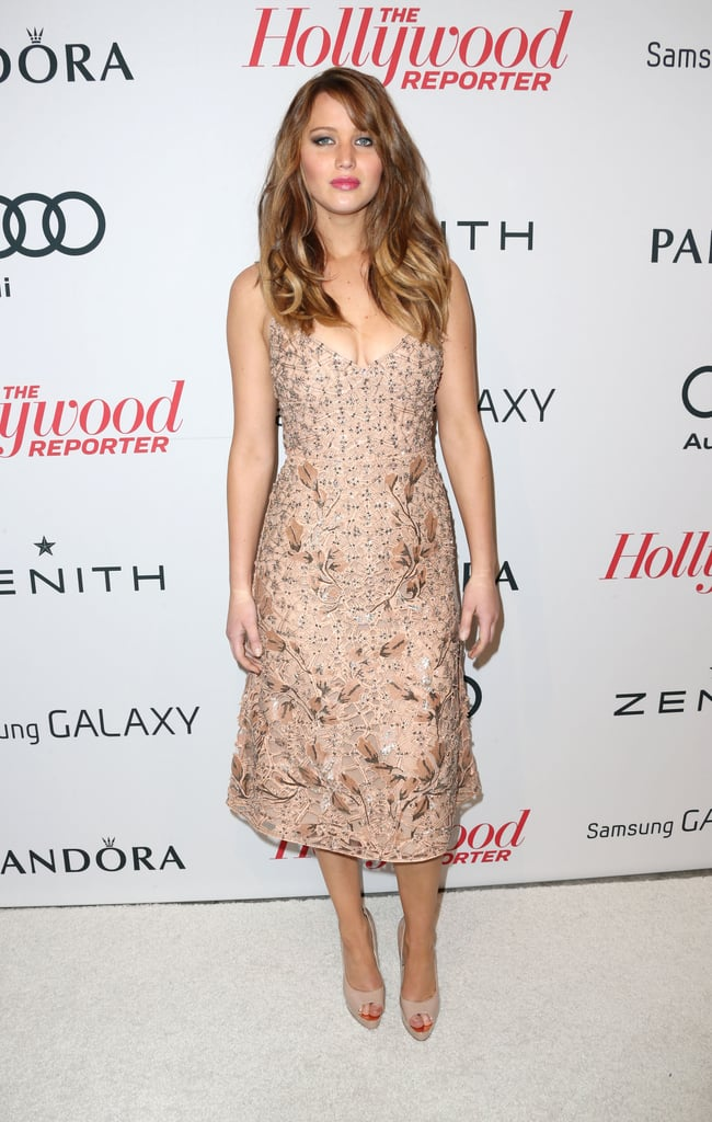 Jennifer Lawrence wore a nude-coloured dress.