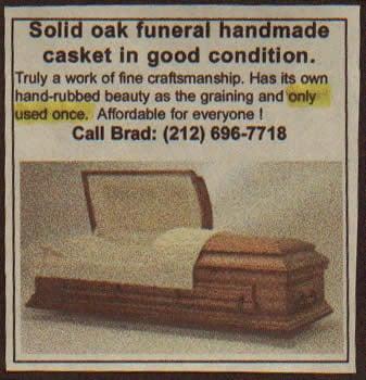 """Oak funeral handmade casket... Only used once."""