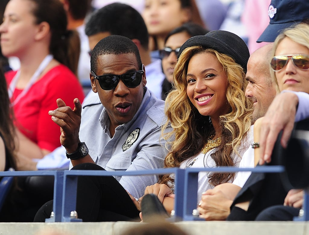 Tennis fans Jay-Z and Beyoncé watched Rafael Nadal play Novak Djokovic at the US Open in September 2011.