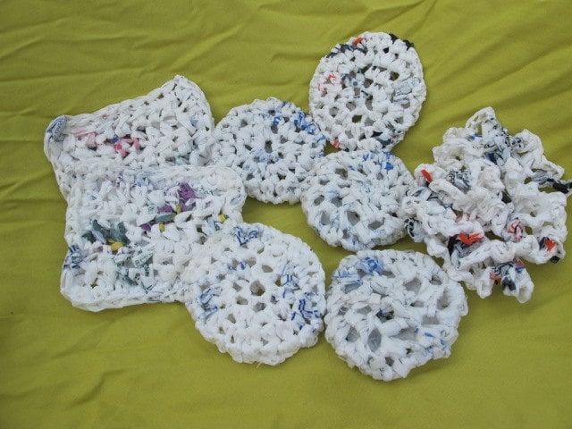 Plastic Bag Pot Scrubbers