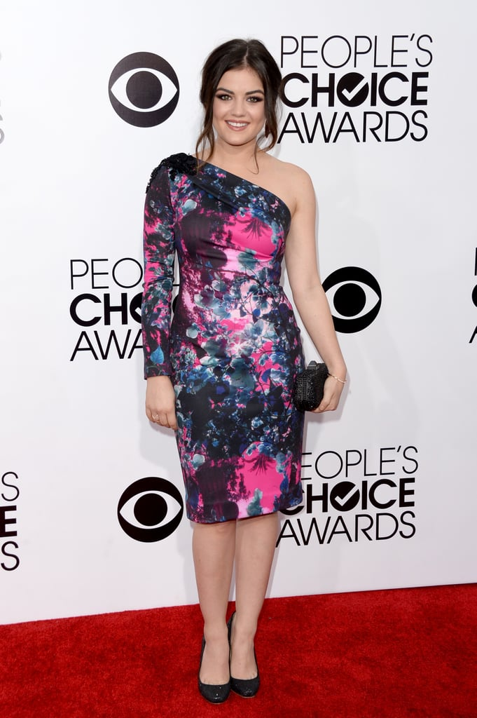 Lucy Hale sported a bright floral print for her turn on the red carpet.