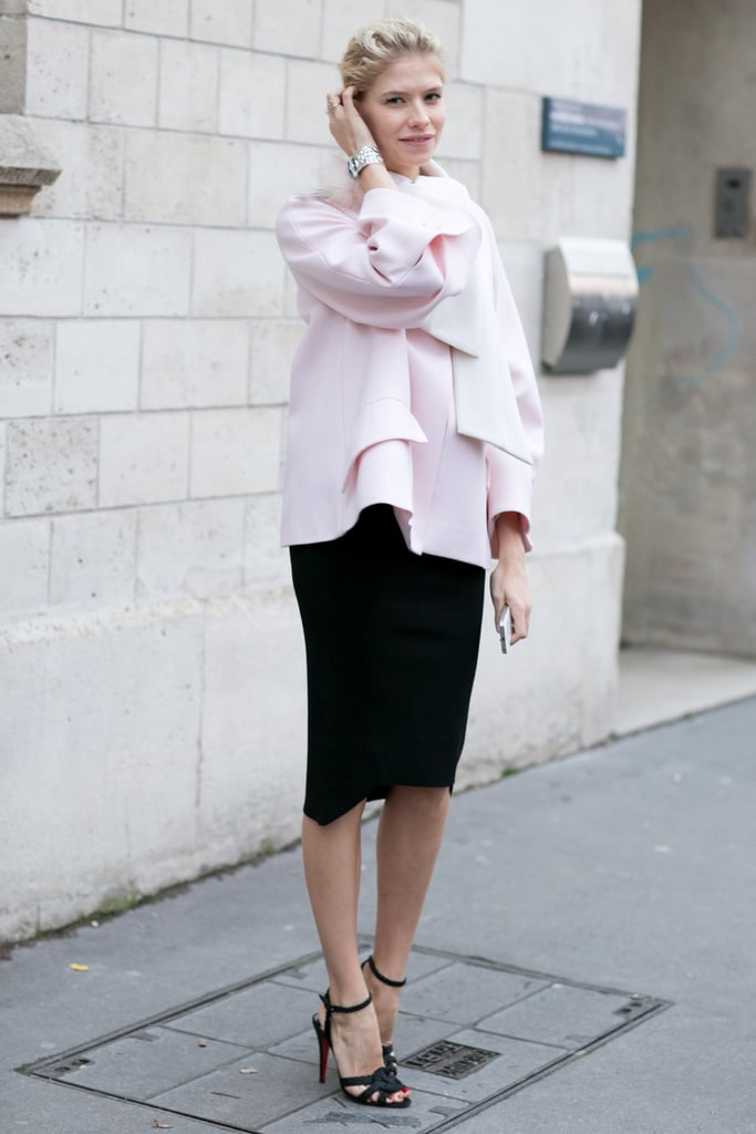 Elena Perminova showed off the softest petal pink with the perfect feminine flourishes.