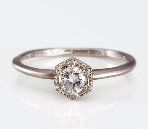 This Satomi Kawakita hexagon white diamond ring ($590) is the perfect combination of stunning, sparkly, and antique-inspired.