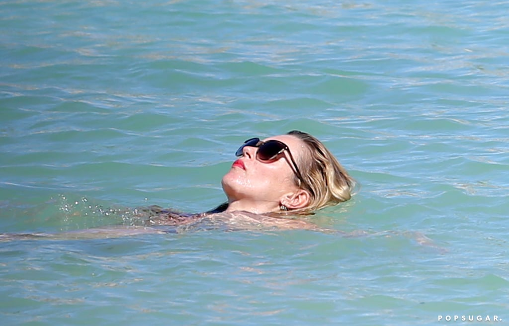 Kate Moss relaxed in the water.