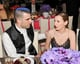 Zachary Quinto embraced his inner punk and chatted up a friend over dinner at the Met Gala.  Source: Billy Farrell/BFANYC.com