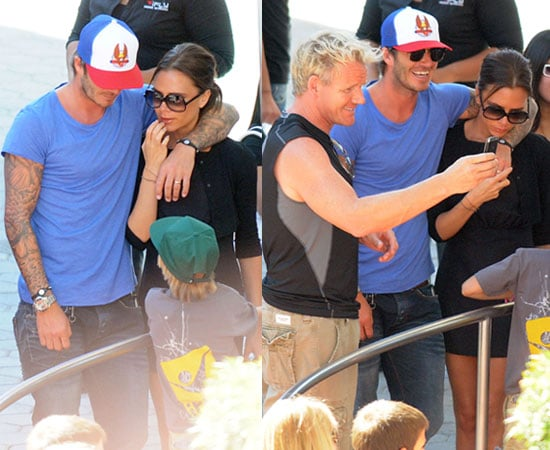 Pictures of David Beckham and Victoria Beckham With Gordon Ramsay at Universal City Walk in Hollywood
