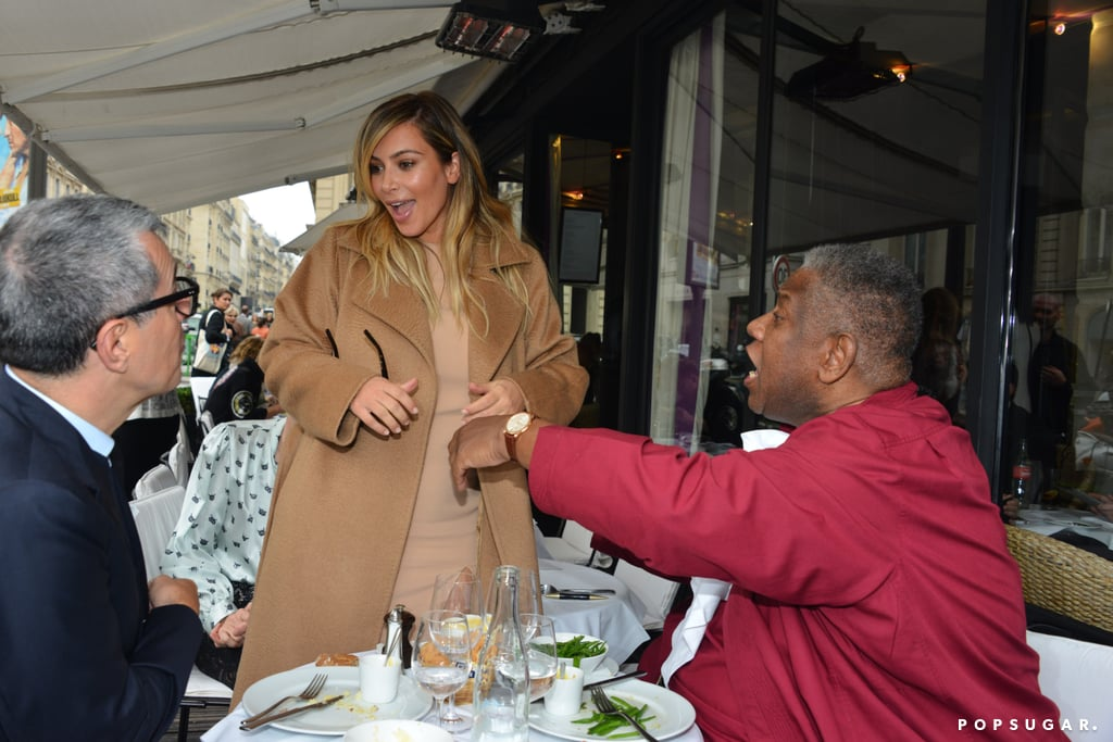 Kim ran into André Leon Talley, the former editor at large for Vogue, while out and about in Paris on Monday.