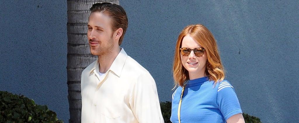 Smiley Ryan Gosling and Emma Stone Reunite on Set
