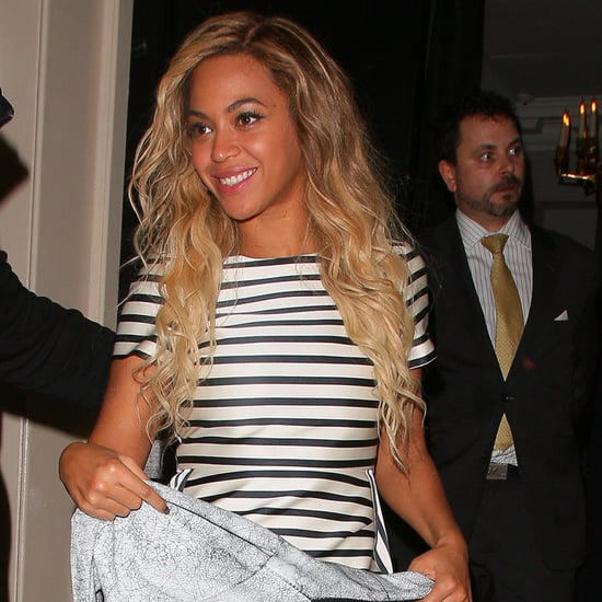 Celebrity Style: Beyoncé In Striped Top With Jacket Off