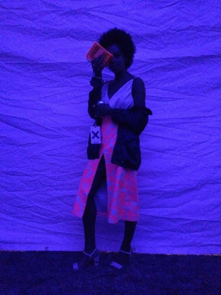 Solange Knowles went for the glow at Coachella's Neon Carnival.  Source: Twitter user solangeknowles
