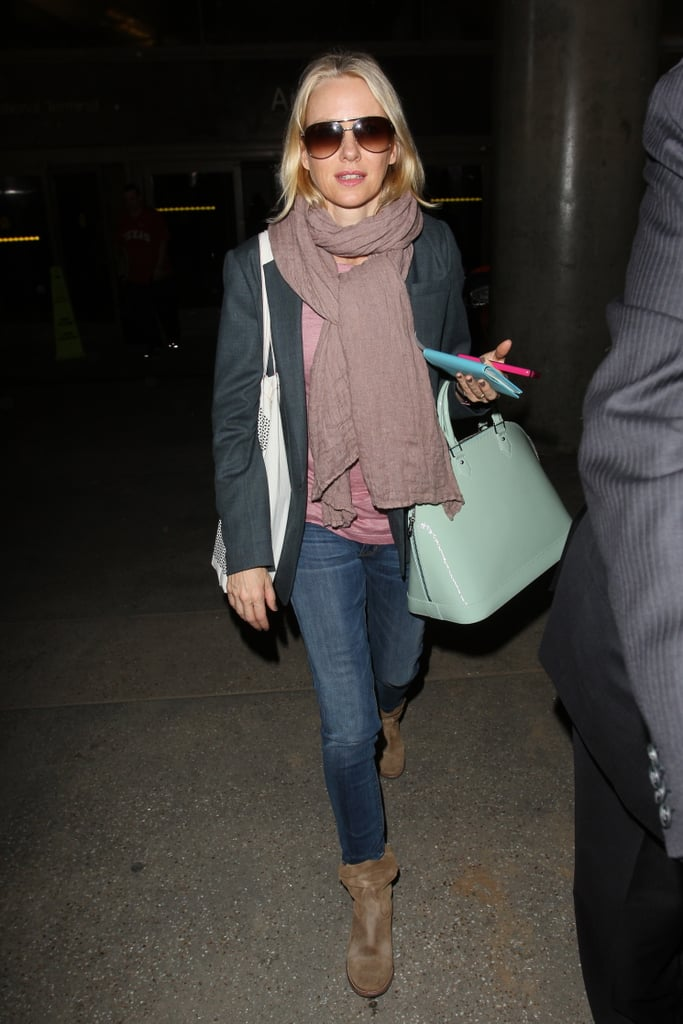 Add a pop of green (mint or otherwise) to your St. Paddy's Day look via a fashionable bag. We love the Louis Vuitton satchel Naomi Watts carried while traveling through LAX.