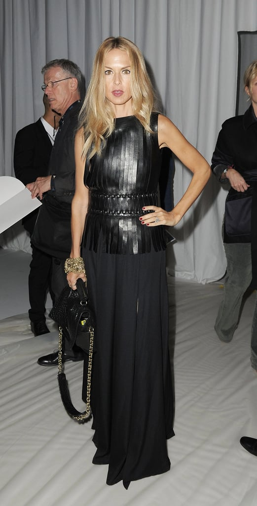 Rachel Zoe channels an unexpectedly glam evening look with sheer and leather.